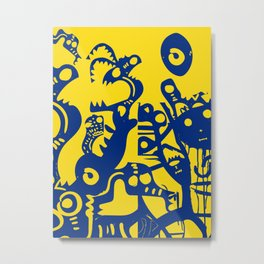 Blue Sweet Monsters in the Sun Street Art Graffiti Design Metal Print