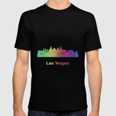 Rainbow Las Vegas skyline Mens Fitted Tee MEDIUM Black