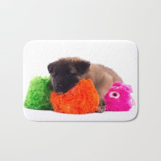 Puppy with colored toys Bath Mat