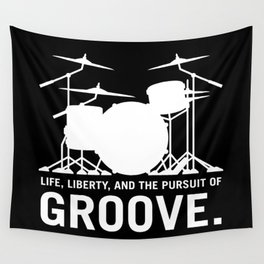 Life, Liberty, and the pursuit of Groove, drummer's drum set silhouette illustration Wall Tapestry