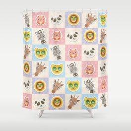 funny animals muzzle owl panda giraffe lion zebra leopard pattern with pink lilac Shower Curtain