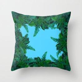 GREEN & BABY BLUE  FERN LEAVES ART Throw Pillow