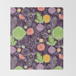 Vegetable Pattern Scandinavian Design Throw Blanket