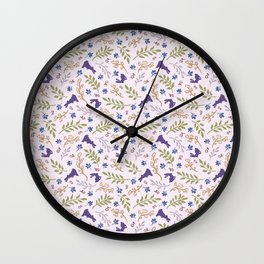 Ditsy Bunnies Amok - Purple Bunnies, Pink Background Wall Clock