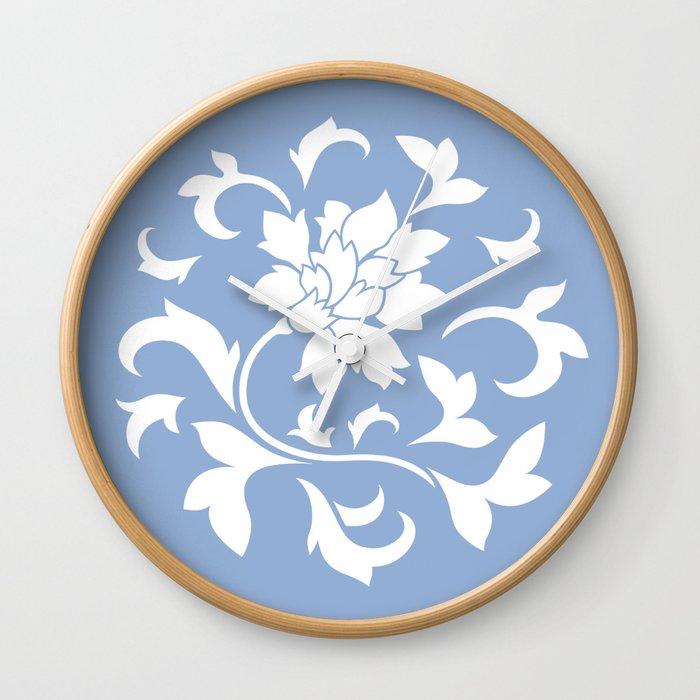 Oriental Flower - Serenity Blue Wall Clock