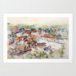 Old Marketplace in Kazimierz Dolny   Poland Art Print