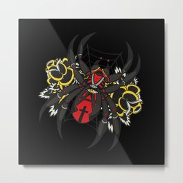 Black Widow Spider With Cross Creepy Metal Print