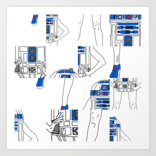 Robot Girl Cubism Art Print