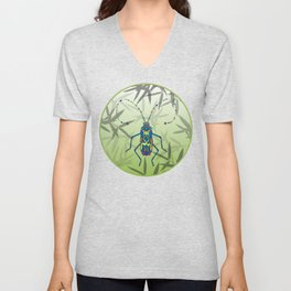 Insect Bamboo leaves Green Unique Pattern Unisex V-Neck