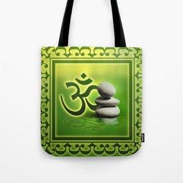 OM symbol  with zen stones on gentle green Tote Bag
