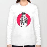moto Long Sleeve T-shirts featuring Moto Girl I by Mónica Carrero