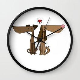 Dog Couple Love Dackel Dachshund Present Gift Wall Clock