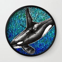 Orca killer whale and ocean Wall Clock