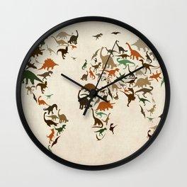 Dinosaur Map of the World Map Wall Clock