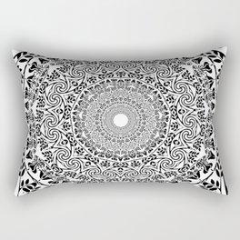 DEEP BLACK AND WHITE MANDALA Rectangular Pillow
