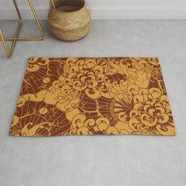 Digital Japanese design pattern for home decoration. Rug