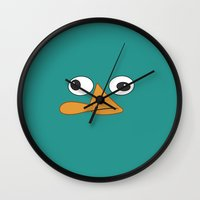 platypus Wall Clocks featuring Perry the Platypus  by Valerie Hoffmann