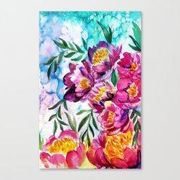 Tree peonies watercolor Canvas Print