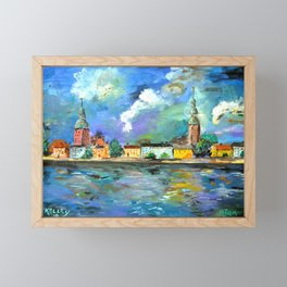 A Night of Color in Riga Framed Mini Art Print
