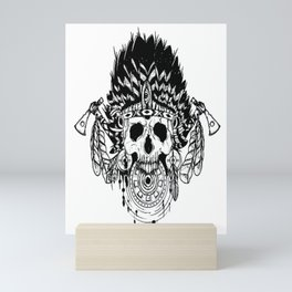Indian chief , skull art , custom gift design Mini Art Print