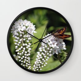 Skipper on a White Flower Wall Clock