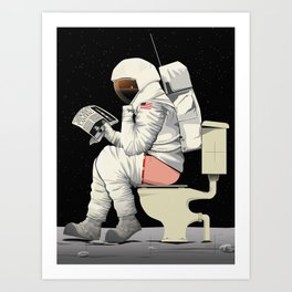 Spaceman On the Toilet Bathroom Restroom Apollo Art Print