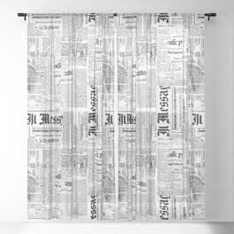 Black And White Collage Of Grunge Newspaper Fragments Sheer Curtain