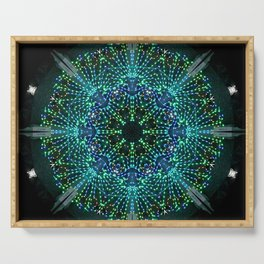 Kaleidoscope fantasy on lighted peacock shape Serving Tray