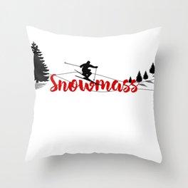 Ski at Snowmass Throw Pillow