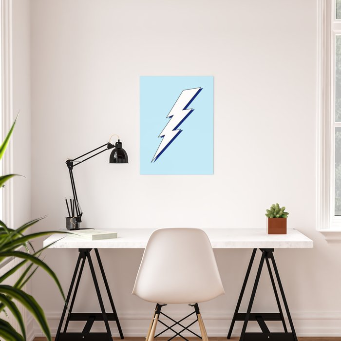 Just Me and My Shadow Lightning Bolt - Light-Blue White Blue Poster