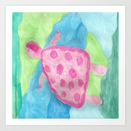 Tropical Pink Turtle Art Print