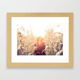 Fall Corn Sunset Framed Art Print