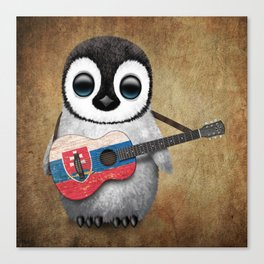 Baby Penguin Playing Slovakian Flag Guitar Canvas Print