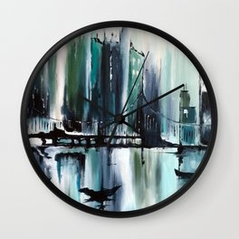 Blue Cityscape Wall Clock