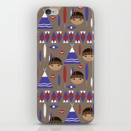 Seamless kids cute American indian native retro background pattern iPhone Skin