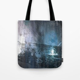 Taking the Evening Train Through Winter Words Tote Bag