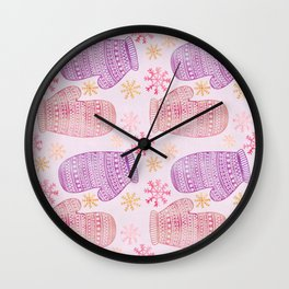 Wintertime pattern knitted mittens Wall Clock