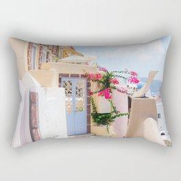 Charming Narrow Lane on Oia Santorini Greece Rectangular Pillow