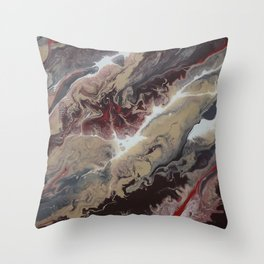 Neutral Black, Red and Brown Painting - Schism Abstract Throw Pillow