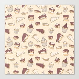 Chocolate Pastry Pattern Canvas Print