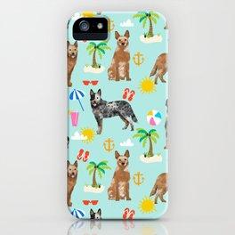 Australian Cattle Dog beach tropical pet friendly dog breed dog pattern art iPhone Case