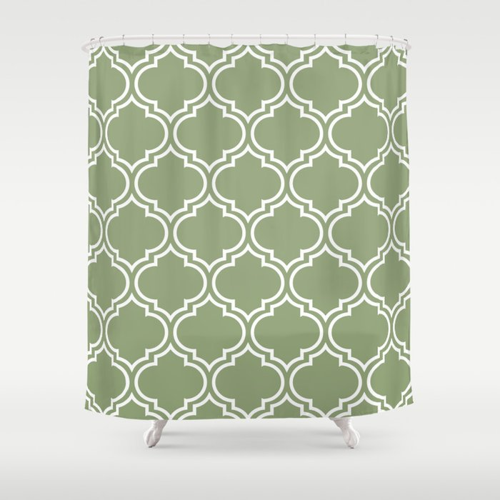 Dark Sage Green Moroccan Lattice Pattern Shower Curtain
