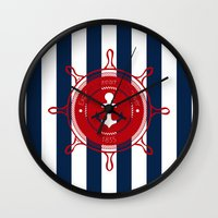 nautical Wall Clocks featuring Nautical by Kathe Gravel
