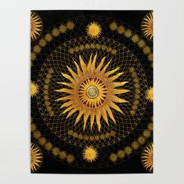 """Black & Gold Vault Mandala"" Poster"