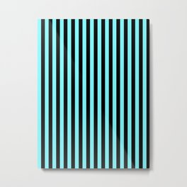 Electric Blue and Black Vertical Stripes Metal Print