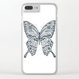 Blue Butterfly Mandala Clear iPhone Case