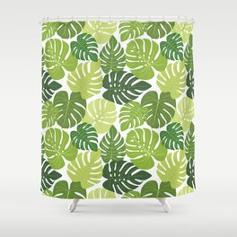 Monstera Leaves Pattern (white background) Shower Curtain