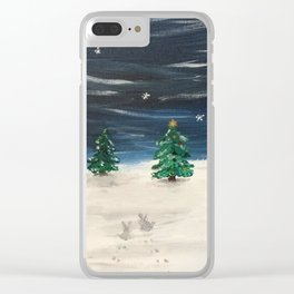Christmas Snowy Winter Landscape Clear iPhone Case