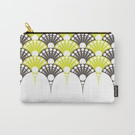 brown and lime art deco inspired fan pattern Carry-All Pouch