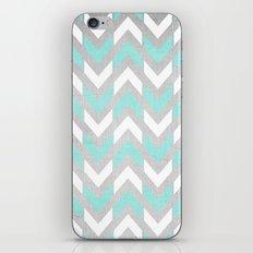 Teal & White Herringbone Chevron on Silver Wood iPhone & iPod Skin